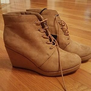 Taupe Wedge Lace Up Booties